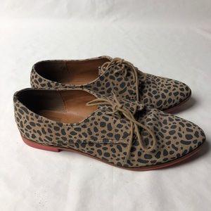 DOLCE VITA Leopard Print Oxfords Lace Up Flats